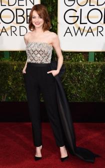 Emma Stone prefirió llevar pantalones en los Globos de Oro 2015