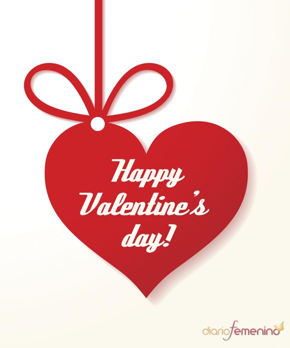 Feliz san valent n tres palabras en una tarjeta para un - Postales dia de san valentin ...