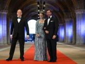 Alberto de Mónaco y Guillermo y Estefania de Luxemburgo en la última cena organizada por Beatriz de Holanda como Reina
