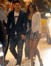 Antonella Roccuzzo, la novia de Leo Messi, en la cena del FC Barcelona