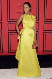 El vestido amarillo de fiesta de Kerry Washington en los CFDA 2013