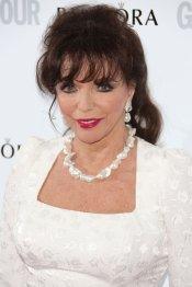 Joan Collins, en la fiesta del glamour de Londres: vestido de fiesta blanco