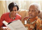 Nelson Mandela, con Michelle Obama