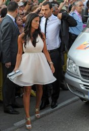 Javier Mascherano y su mujer María Fernanda en la boda de Xavi Hernández y Nuria Cunillera