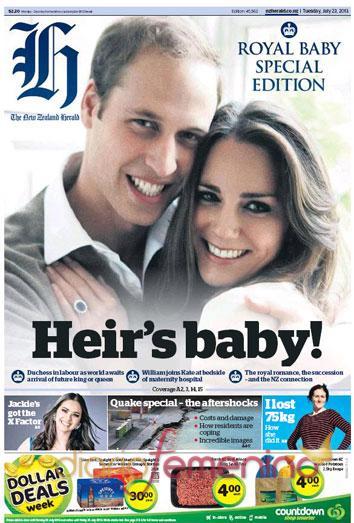 La noticia del nacimiento del hijo de los duques de Cambridge acapara las portadas de la prensa internacional