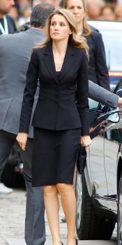 La princesa Letizia a su llegada a la Catedral de Santiago donde se ofició el funeral por las 79 víctimas mortales