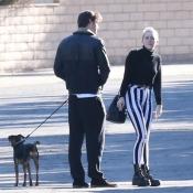 Miley Cyrus y Liam Hemsworth paseando al perro
