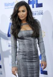 Naya Rivera en un bonito vestido gris