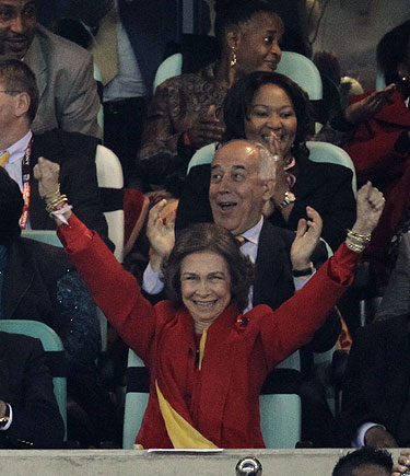 La Reina Sofía en la victoria de España contra Alemania