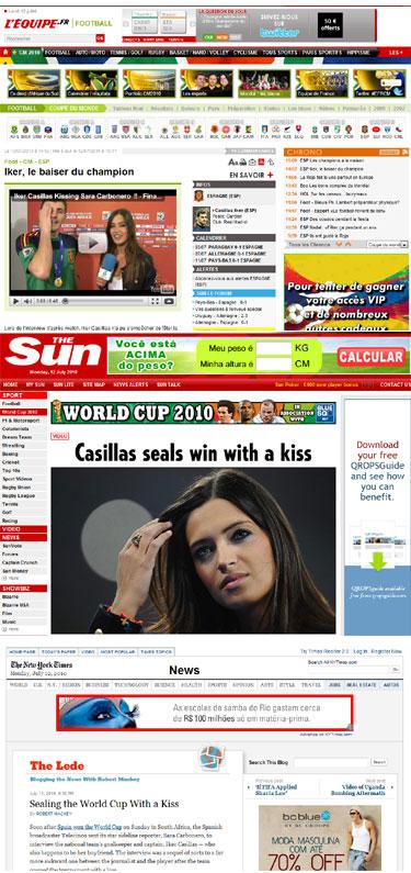 El beso campeón de Iker Casillas a Sara Carbonero en la prensa internacional