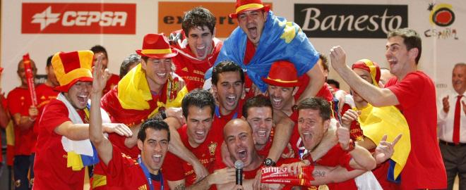La seleccion espanola celebra triunfo madrid