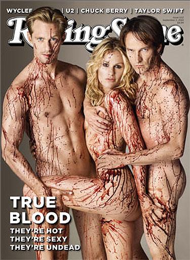 Anna Paquin, Stephen Moyer y Aleksander Skarsgard de True Blood desnudos en Rolling Stone