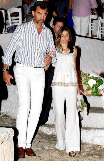 El principe felipe y letizia en la recepcion previa a la boda de nicolas de grecia