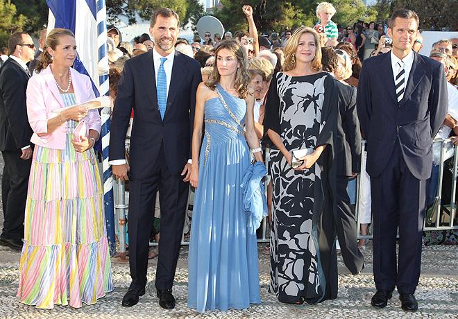 Príncipes Felipe y Letizia y las Infantas Elena y Cristina juntos en boda real en Grecia