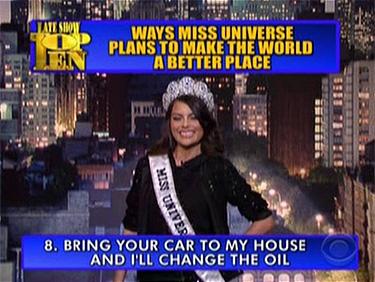 Miss Universo Jimena Navarrete en el 'Late Show' David Letterman CBS