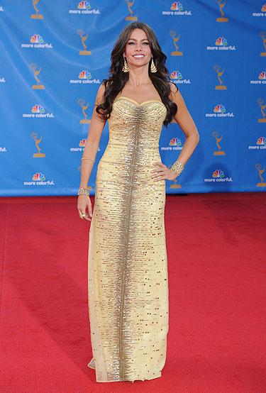 Sofía Vergara en la alfombra roja de los Premios Emmy 2010