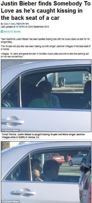 Justin bieber pillado besandose con jasmine villegas en un coche