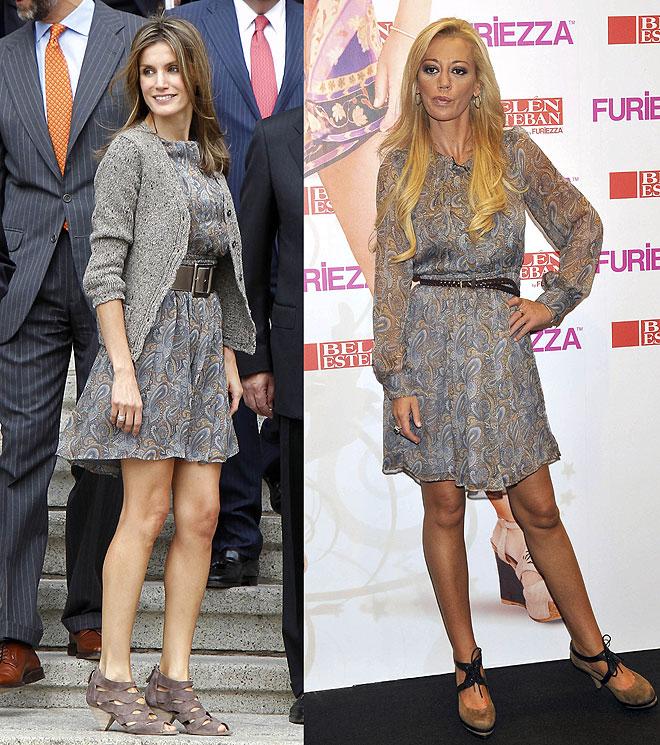 Belén Esteban y Letizia Ortiz con el mismo vestido Mango