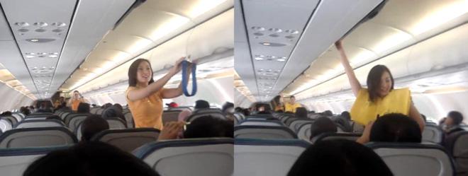 Azafata Cebu Air bailando