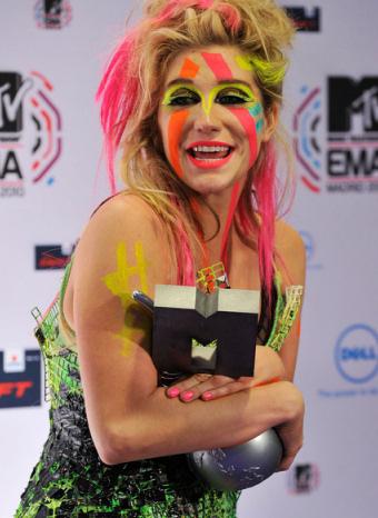 Kesha durante la entrega de premios de los MTV