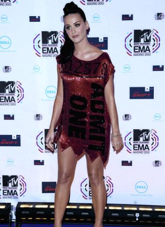 Katy Perry durante los premios MTV 2010