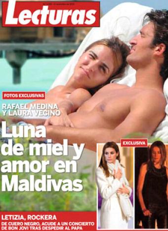 Rafa Medina y Laura Vecino en su boda de miel