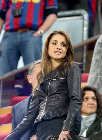 Rania de Jordania en el Camp Nou