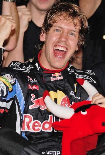 Vettel celebrando su triunfo