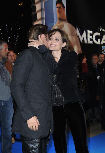 Angelina jolie y brad pitt en el estreno de megamind