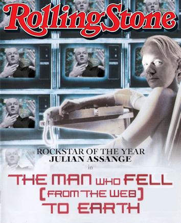 Portada de la revista Rolling Stone en la que nombran a Julian Assange rockero del año