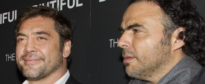 Javier Bardem y Alejandro González Iñárritu en la presentación de