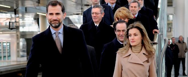 Los princepes de asturias durante la inauguración