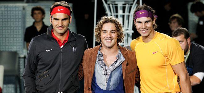 Rafa Nadal y Roger Federer con David Bisbal antes del partido de tenis por la Fundación Rafa Nadal