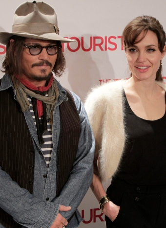 Angelina Jolie y Johnny Depp en la premiere de 'El turista'