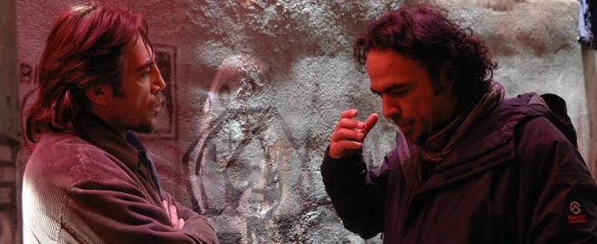 Iñárritu y Javier Bardem en un momento del rodaje