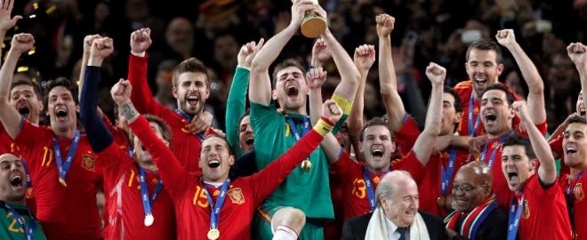 'La roja' celebrando su victoria en el Mundial