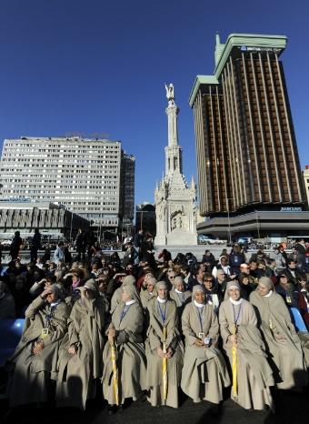Beatas en la manifestación de ayer en Colón