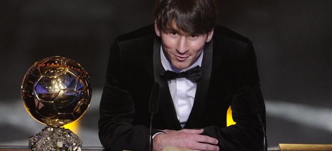Leo Messi da las gracias por el FIFA Balón de Oro 2011