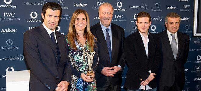 Vicente del Bosque, Aracha Sánchez Vicario, José Mata y Luis Figo en la presentación de los Premio Laureus 2011