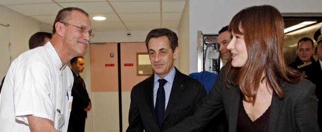 Carla Bruni y Nicolas Sarkozi en una de sus visitas oficiales