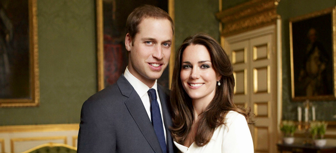 Guillermo de Inglaterra y Kate Middleton en la foto oficial de la pedida de mano