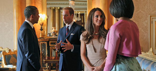 Primer acto oficial de Guillermo y Kate como Duques de Cambridge: encuentro con los Obama