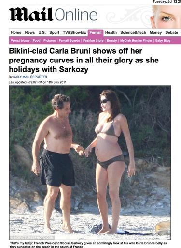 Carla Bruni se querella contra la revista que ha publicado su embarazo en bikini