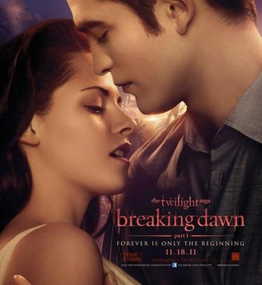 Kristen Stewart y Robert Pattinson en Amanecer