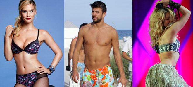 Piqué, Shakira y Bar Refaeli: tres son multitud