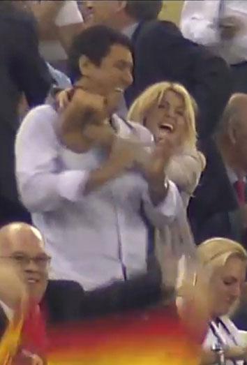 Shakira celebra el gol de España