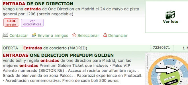 Reventa de entradas para One Direction en Madrid y Barcelona