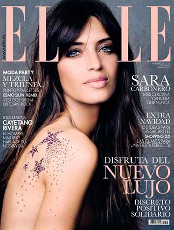 Portada de Elle con Sara Carbonero cubierta de Swarovski