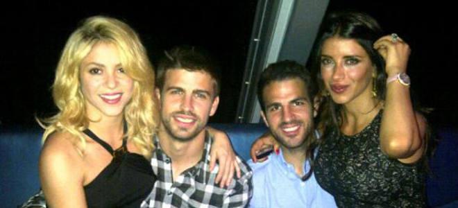 Piqué y Shakira con Fábregas y Daniella Semaan
