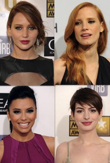 Jennifer Lawrence, Jessica Chastain, Eva Longoria y Anne Hathaway